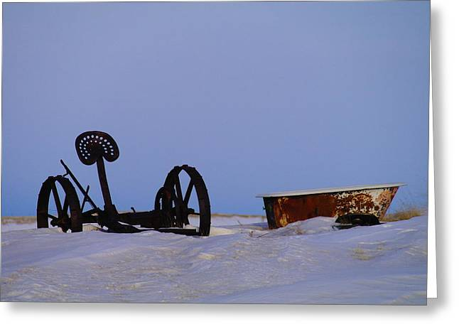 Old Plows Greeting Cards - A Bath After Harvest Greeting Card by Jeff  Swan