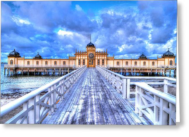 Ocen Landscape Greeting Cards - A bath house Greeting Card by Toppart Sweden