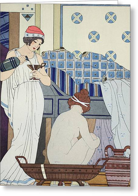 Wine Pouring Greeting Cards - A Bath Seat Greeting Card by Joseph Kuhn-Regnier