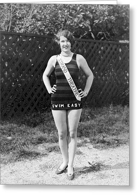 A Bathing Suit With Advertising Greeting Card by Underwood Archives