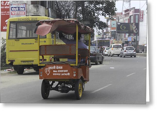India Greeting Cards - A battery operated rickshaw in the state of Uttarakhand Greeting Card by Ashish Agarwal