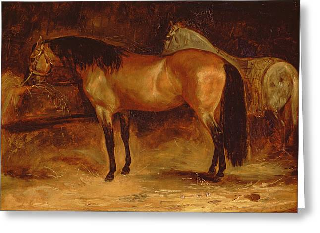 Stable Greeting Cards - A Bay Horse At A Manger, With A Grey Horse In A Rug Greeting Card by Theodore Gericault