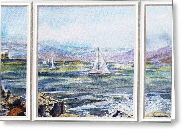 Blue Sailboats Greeting Cards - A Bay View Window Rough Waves Greeting Card by Irina Sztukowski