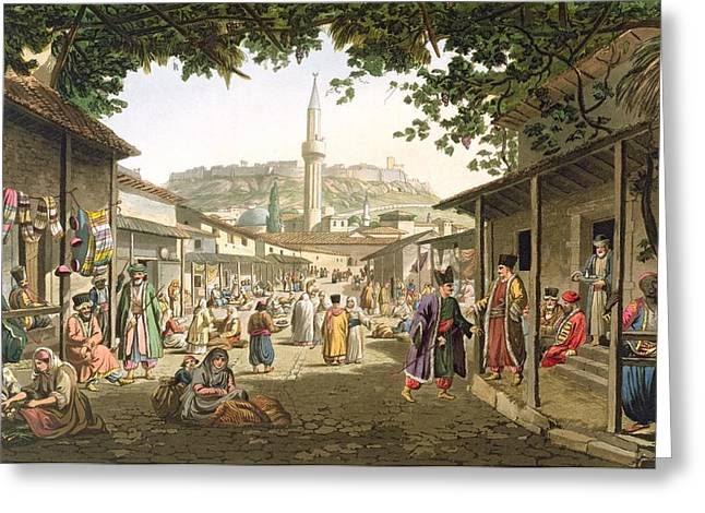 Acropolis Greeting Cards - A Bazaar In Athens, Plate 1 From Part 1 Greeting Card by Edward Dodwell