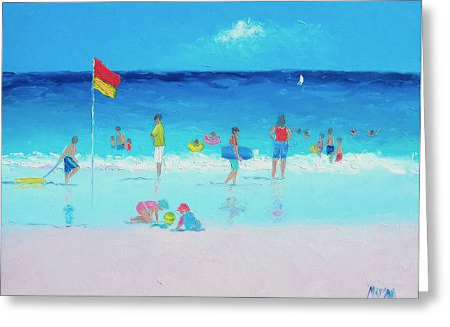 Swimming Greeting Cards - A Beach Holiday Greeting Card by Jan Matson