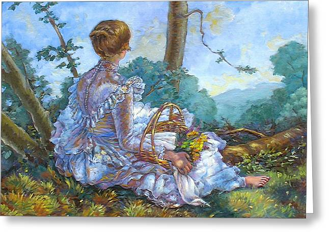 Monet Lady Greeting Cards - A beautiful afternoon Greeting Card by Dominique Amendola
