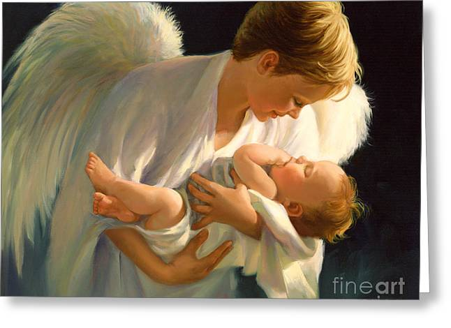 Playing Angels Greeting Cards - A Beautiful Angel Carried Me Greeting Card by Laurie Hein
