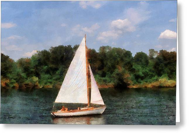 A Beautiful Day For A Sail Greeting Card by Susan Savad