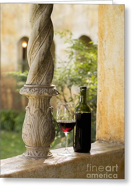 Red Wine Bottle Greeting Cards - A Beautiful Day for Wine Greeting Card by Jon Neidert