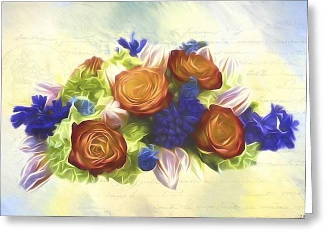 A Beautiful Life - Vintage Flower Art Greeting Card by Jordan Blackstone
