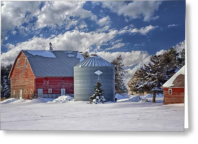 Old Barns Greeting Cards - A Beautiful Winter Day Greeting Card by Nikolyn McDonald