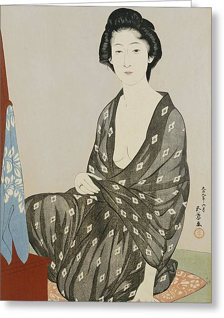 Full-length Portrait Greeting Cards - A beauty in a black kimono Greeting Card by Hashiguchi