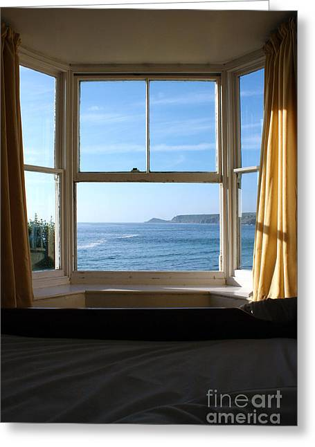Sennen Cove Greeting Cards - A Bed With a View Greeting Card by Terri  Waters
