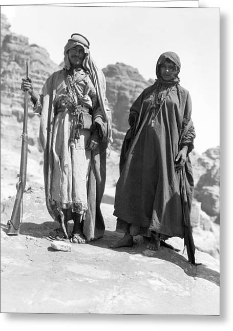 A Bedouin And His Wife Greeting Card by Underwood Archives