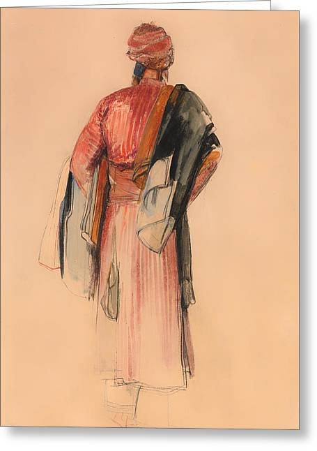 Pencil On Canvas Greeting Cards - A Bedouin Greeting Card by John Lewis