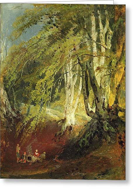 Fire Wood Greeting Cards - A Beech Wood With Gypsies Seated Round Greeting Card by Joseph Mallord William Turner