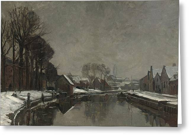 Bare Trees Greeting Cards - A Belgian Town in Winter Greeting Card by Albert Baertsoen