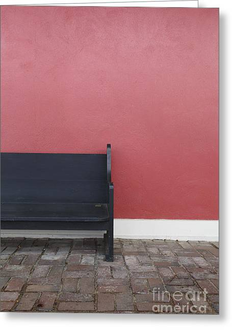 Park Benches Greeting Cards - A bench in front of a red stucco wall Greeting Card by Edward Fielding