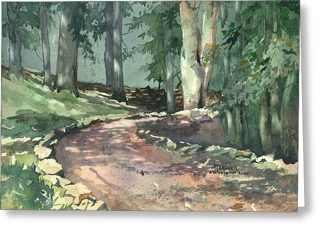 Gravel Road Paintings Greeting Cards - A Bend In The Road Greeting Card by Spencer Meagher