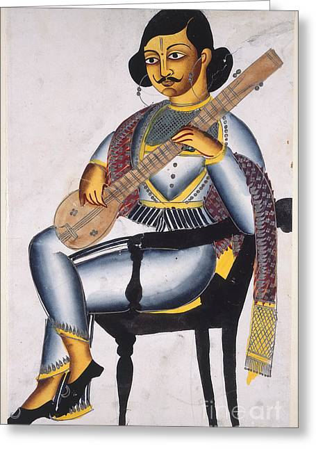 Playing Musical Instruments Greeting Cards - A Bengali Musician Greeting Card by British Library