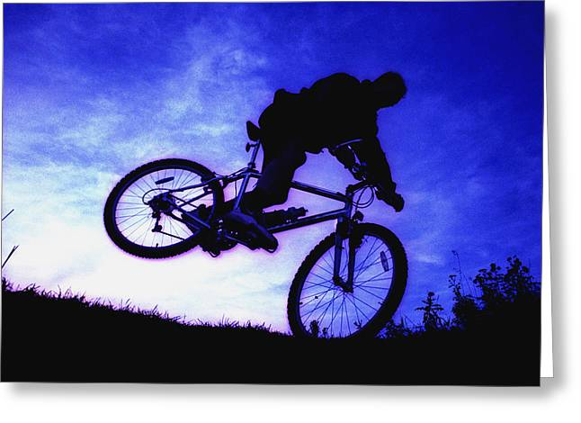 Extreme Lifestyle Greeting Cards - A Bicycle Stunt Greeting Card by Corey Hochachka