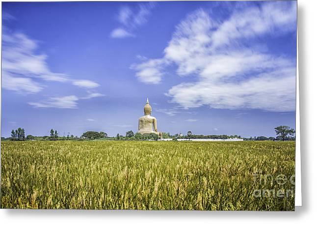 Angthong Greeting Cards - A biggest Buddha in Thailand Greeting Card by Anek Suwannaphoom