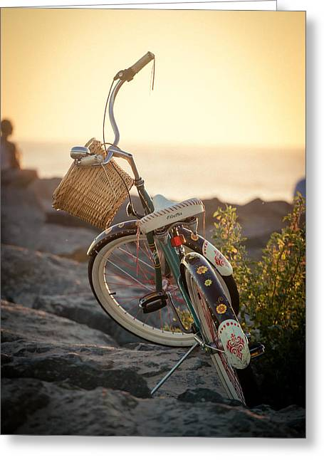 Beach Cruiser Greeting Cards - A Bike and Chi Greeting Card by Peter Tellone