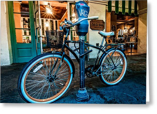 Urban Greeting Cards - A bike in front of Cafe Du Monde in New Orleans Greeting Card by Andy Crawford