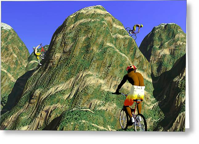 Rire Greeting Cards - Bikers Hills Greeting Card by Walter Oliver Neal