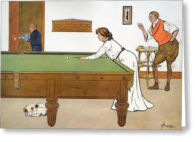 Pastimes Greeting Cards - A Billiards Match Greeting Card by Lance Thackeray