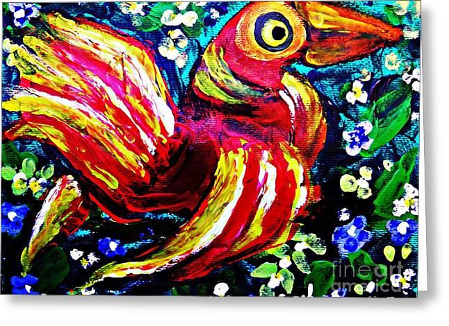 Sarah Loft Paintings Greeting Cards - A Bird Imagined Greeting Card by Sarah Loft