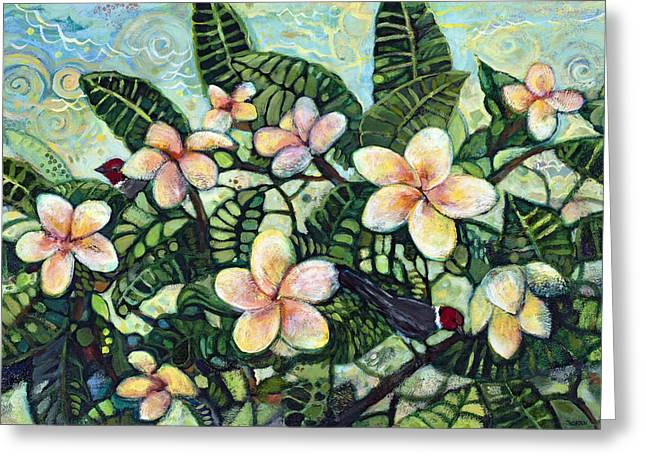 Plumeria Greeting Cards - A Bird In The Hand... Greeting Card by Jen Norton
