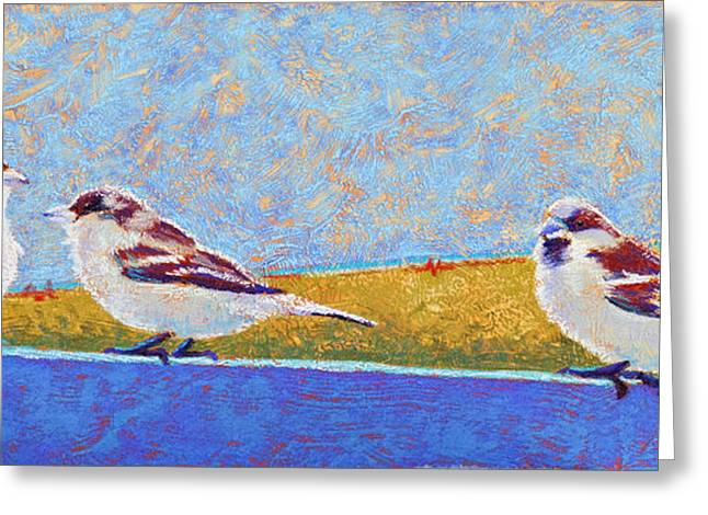 Windy Pastels Greeting Cards - A Birdie Told Me Greeting Card by Tracy L Teeter