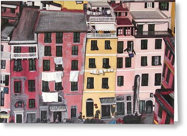 Buildings By The Sea Greeting Cards - A Birds Eye View of Cinque Terre Greeting Card by Quin Sweetman