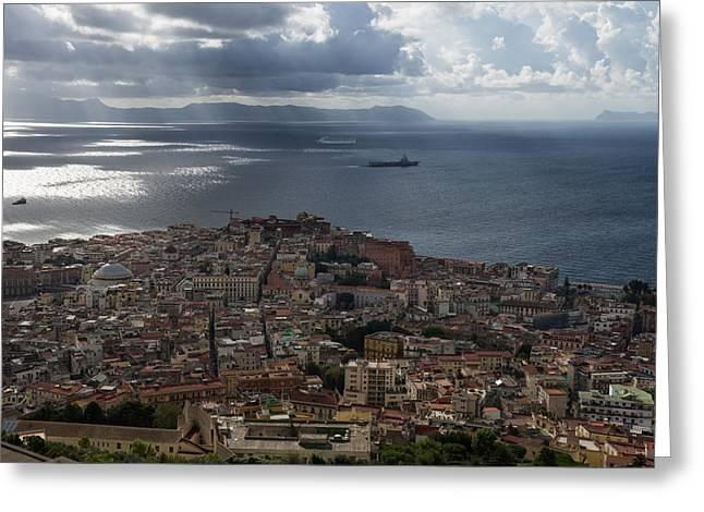 Far Above Greeting Cards - A Birds-eye View of Naples Italy Greeting Card by Georgia Mizuleva