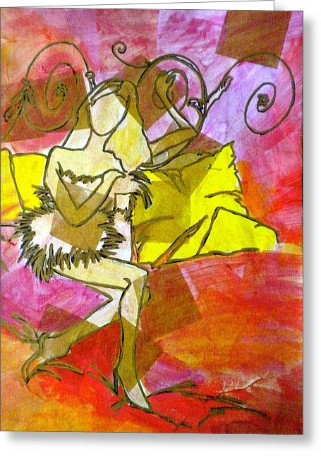 Loose Mixed Media Greeting Cards - A Bit of Whimsy Greeting Card by Debi Starr