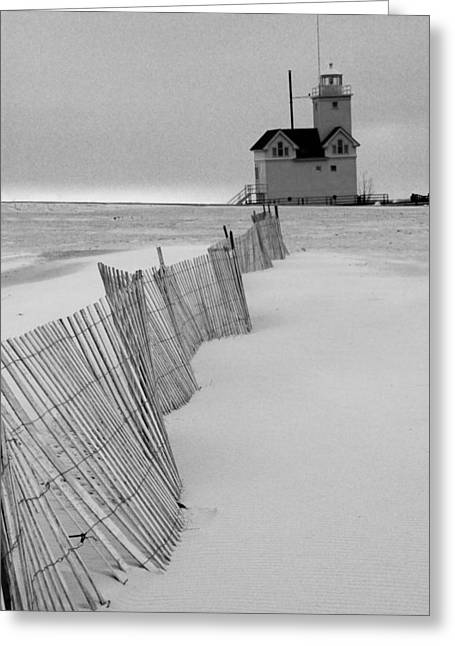 Sand Fences Photographs Greeting Cards - A Black And White Photograph of the Lighthouse Big Red in Holland Michigan Greeting Card by Randall Nyhof