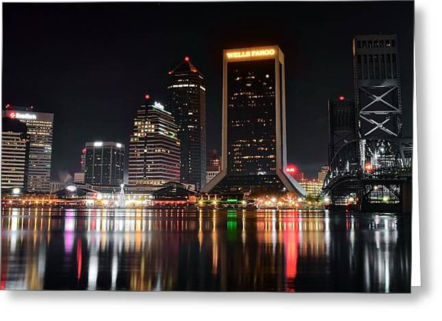 A Black Night In Jacksonville Greeting Card by Frozen in Time Fine Art Photography