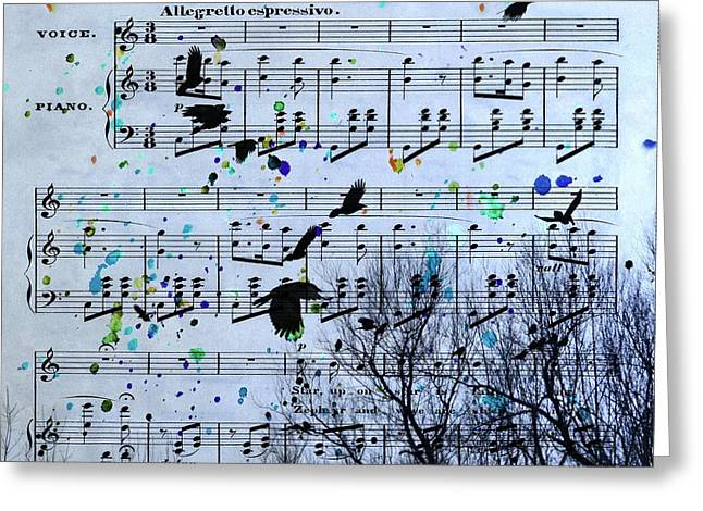 Crow. Bird Music Greeting Cards - A Melody Of Blackbirds Greeting Card by Gothicolors Donna Snyder