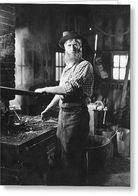 One Mature Man Only Greeting Cards - A Blacksmith At His Forge Greeting Card by Underwood Archives