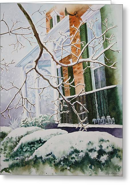 Patsy Sharpe Paintings Greeting Cards - A Blanket of Snow Greeting Card by Patsy Sharpe
