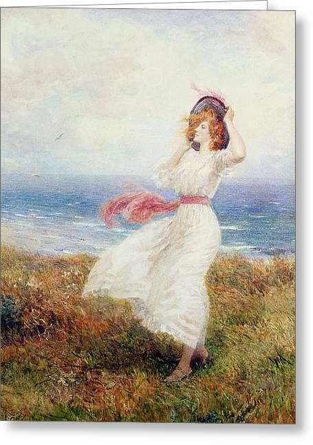 Windy Greeting Cards - A Blow On The Cliffs Greeting Card by Arthur Hopkins