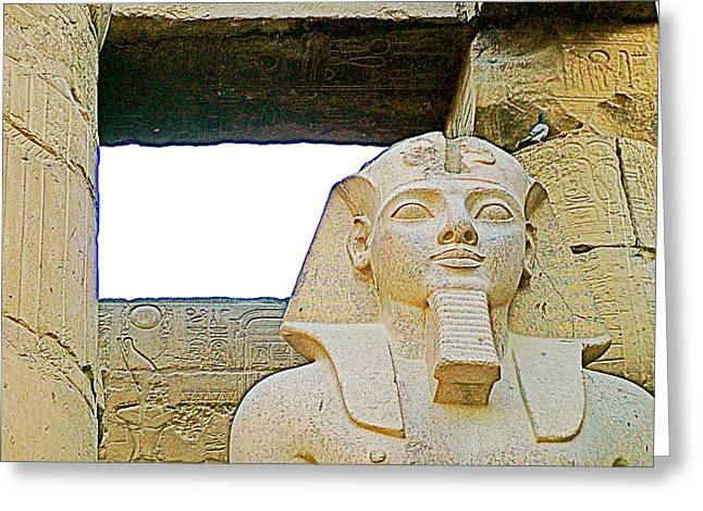 The Sun God Greeting Cards - A Blue Bird Visits the Sun God in Luxor Temple-Egypt  Greeting Card by Ruth Hager