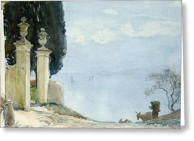 Besides Greeting Cards - A Blue Day on Como Greeting Card by Joseph Walter West