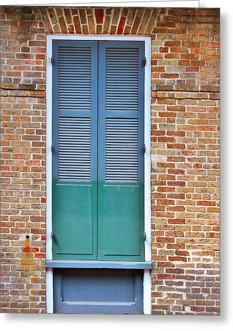 Shutter Greeting Cards - A Blue Door in New Orleans Greeting Card by Christine Till