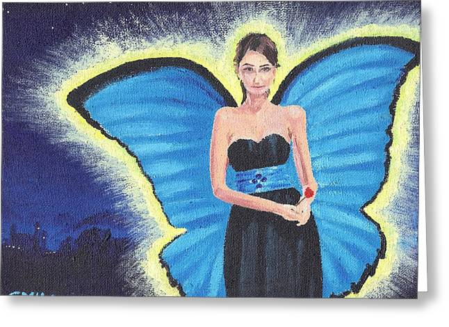 Strapless Dress Paintings Greeting Cards - A Blue Fairy Greeting Card by Glenn Harden