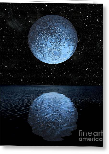 Sea Moon Full Moon Greeting Cards - A Blue Moon Rising Over A Calm Alien Greeting Card by Marc Ward