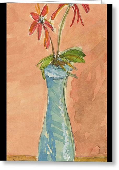 Aceo Original Drawings Greeting Cards - A blue vase with red flowers  Greeting Card by Cathy Peterson