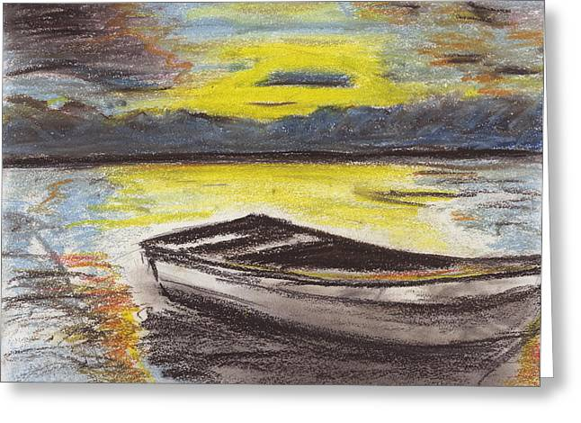 Row Pastels Greeting Cards - A Boat Greeting Card by E Carrington