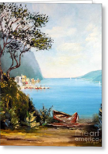 Lee Piper Art Greeting Cards - A Boat On The Beach Greeting Card by Lee Piper